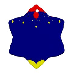 Critical Points Line Circle Red Blue Yellow Snowflake Ornament (two Sides) by Mariart