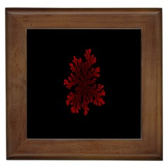 Dendron Diffusion Aggregation Flower Floral Leaf Red Black Framed Tiles by Mariart