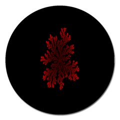 Dendron Diffusion Aggregation Flower Floral Leaf Red Black Magnet 5  (round) by Mariart