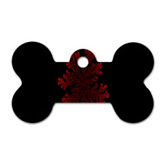 Dendron Diffusion Aggregation Flower Floral Leaf Red Black Dog Tag Bone (two Sides) by Mariart