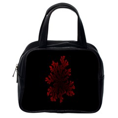 Dendron Diffusion Aggregation Flower Floral Leaf Red Black Classic Handbags (one Side) by Mariart