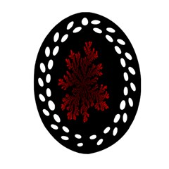 Dendron Diffusion Aggregation Flower Floral Leaf Red Black Oval Filigree Ornament (two Sides) by Mariart