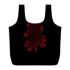 Dendron Diffusion Aggregation Flower Floral Leaf Red Black Full Print Recycle Bags (l)  by Mariart
