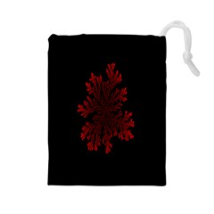 Dendron Diffusion Aggregation Flower Floral Leaf Red Black Drawstring Pouches (large)  by Mariart
