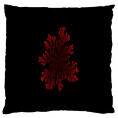 Dendron Diffusion Aggregation Flower Floral Leaf Red Black Large Flano Cushion Case (one Side) by Mariart