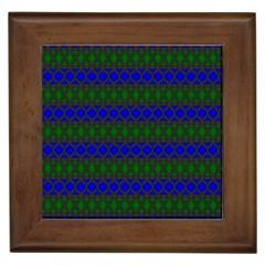 Diamond Alt Blue Green Woven Fabric Framed Tiles by Mariart