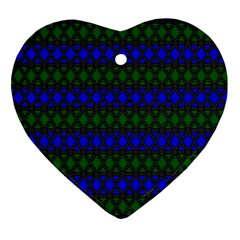 Diamond Alt Blue Green Woven Fabric Ornament (heart) by Mariart