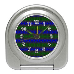 Diamond Alt Blue Green Woven Fabric Travel Alarm Clocks by Mariart