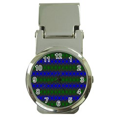 Diamond Alt Blue Green Woven Fabric Money Clip Watches by Mariart