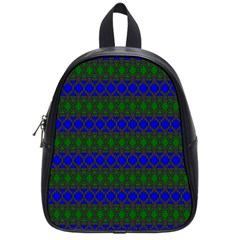 Diamond Alt Blue Green Woven Fabric School Bags (small)  by Mariart
