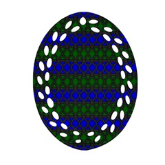 Diamond Alt Blue Green Woven Fabric Oval Filigree Ornament (two Sides) by Mariart