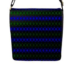 Diamond Alt Blue Green Woven Fabric Flap Messenger Bag (l)  by Mariart