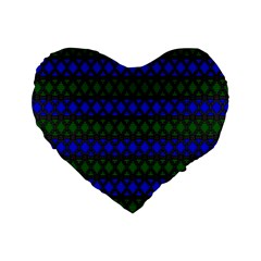 Diamond Alt Blue Green Woven Fabric Standard 16  Premium Flano Heart Shape Cushions by Mariart