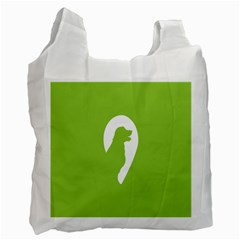 Dog Green White Animals Recycle Bag (one Side) by Mariart