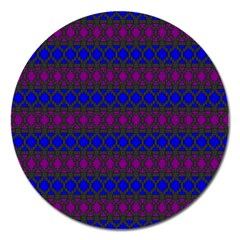 Diamond Alt Blue Purple Woven Fabric Magnet 5  (round) by Mariart