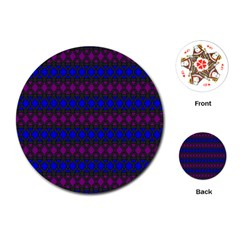 Diamond Alt Blue Purple Woven Fabric Playing Cards (round)  by Mariart