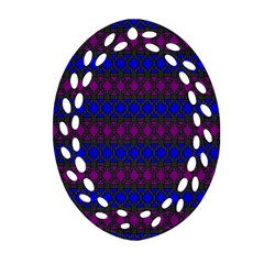 Diamond Alt Blue Purple Woven Fabric Oval Filigree Ornament (two Sides) by Mariart