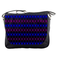 Diamond Alt Blue Purple Woven Fabric Messenger Bags by Mariart