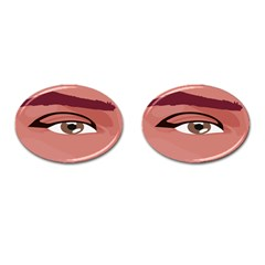 Eye Difficulty Red Cufflinks (oval) by Mariart