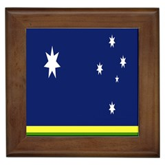 Flag Star Blue Green Yellow Framed Tiles by Mariart