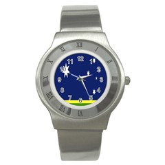Flag Star Blue Green Yellow Stainless Steel Watch by Mariart