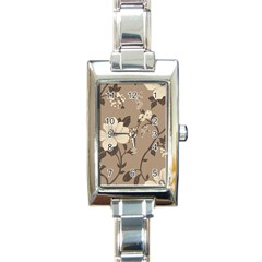 Floral Flower Rose Leaf Grey Rectangle Italian Charm Watch by Mariart