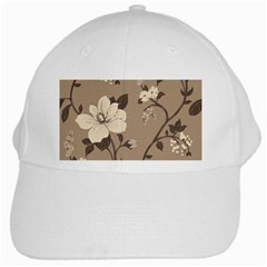 Floral Flower Rose Leaf Grey White Cap by Mariart