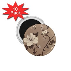 Floral Flower Rose Leaf Grey 1 75  Magnets (10 Pack)  by Mariart