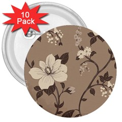 Floral Flower Rose Leaf Grey 3  Buttons (10 Pack)  by Mariart