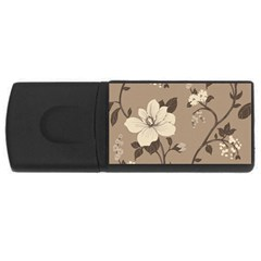 Floral Flower Rose Leaf Grey Usb Flash Drive Rectangular (4 Gb) by Mariart
