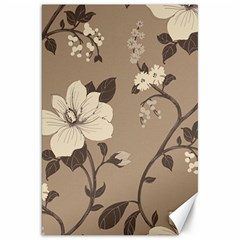 Floral Flower Rose Leaf Grey Canvas 20  X 30   by Mariart