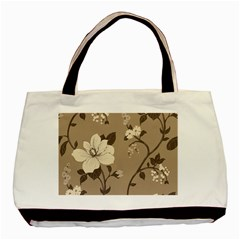 Floral Flower Rose Leaf Grey Basic Tote Bag (two Sides) by Mariart