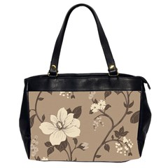 Floral Flower Rose Leaf Grey Office Handbags (2 Sides)  by Mariart