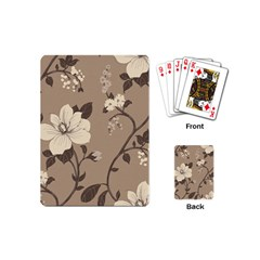 Floral Flower Rose Leaf Grey Playing Cards (mini)  by Mariart