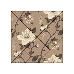 Floral Flower Rose Leaf Grey Acrylic Tangram Puzzle (4  X 4 ) by Mariart