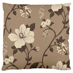 Floral Flower Rose Leaf Grey Large Cushion Case (two Sides) by Mariart