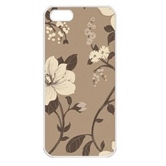 Floral Flower Rose Leaf Grey Apple Iphone 5 Seamless Case (white) by Mariart
