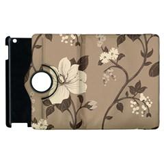 Floral Flower Rose Leaf Grey Apple Ipad 2 Flip 360 Case by Mariart