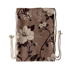 Floral Flower Rose Leaf Grey Drawstring Bag (small) by Mariart