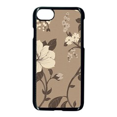 Floral Flower Rose Leaf Grey Apple Iphone 7 Seamless Case (black) by Mariart