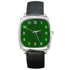 Dendron Diffusion Aggregation Flower Floral Leaf Green Purple Square Metal Watch by Mariart