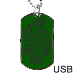 Dendron Diffusion Aggregation Flower Floral Leaf Green Purple Dog Tag Usb Flash (one Side) by Mariart