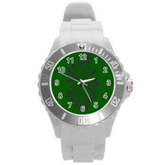 Dendron Diffusion Aggregation Flower Floral Leaf Green Purple Round Plastic Sport Watch (l) by Mariart