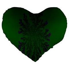 Dendron Diffusion Aggregation Flower Floral Leaf Green Purple Large 19  Premium Flano Heart Shape Cushions by Mariart