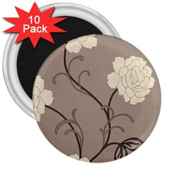 Flower Floral Black Grey Rose 3  Magnets (10 Pack)  by Mariart
