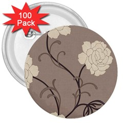 Flower Floral Black Grey Rose 3  Buttons (100 pack)  by Mariart