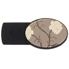Flower Floral Black Grey Rose Usb Flash Drive Oval (4 Gb) by Mariart