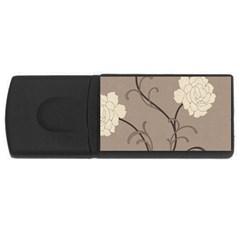 Flower Floral Black Grey Rose Usb Flash Drive Rectangular (4 Gb) by Mariart