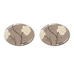 Flower Floral Black Grey Rose Cufflinks (oval) by Mariart