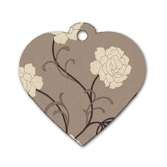 Flower Floral Black Grey Rose Dog Tag Heart (two Sides) by Mariart